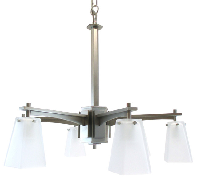 Kalco Pasadena Satin Nickel 6-Light Chandelier With Etched Glass