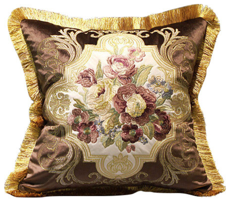 Luxury Decorative Pillow Collection : Luxury Brown Float Flower Pillow Embellished With Trim 20