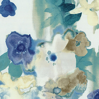 Blue And Aqua Watercolor Floral Fabric Contemporary