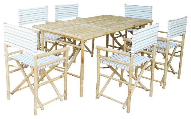 Set Of Bamboo Rectangular Table, 6 Director Chair