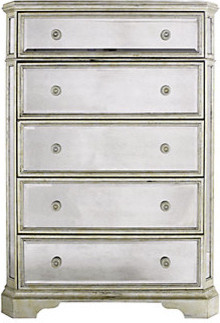 Borghese Mirrored 5 Drawer Chest Modern Dressers By