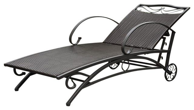 International caravan multi position chaise lounge for Black mesh chaise lounge