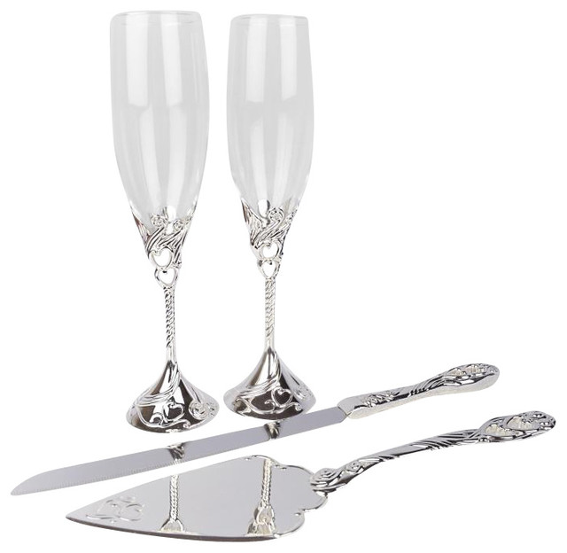 Unik Occasions Toasting Gles Cake Serving Set Traditional Knife Sets