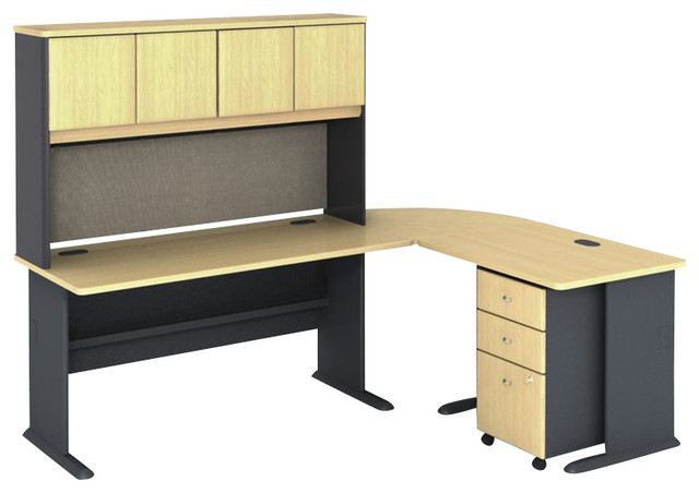 bush series a 5 piece l shape computer desk in beech transitional desks bush desk hutch office