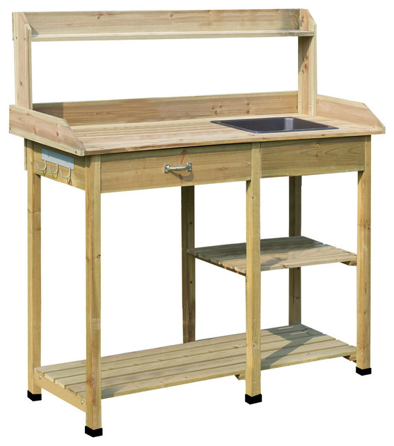 Peachy Convenience Concepts Deluxe Potting Bench In Natural Fir Gmtry Best Dining Table And Chair Ideas Images Gmtryco
