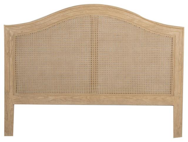 Oak And Rattan Euro King Headboard, Natural