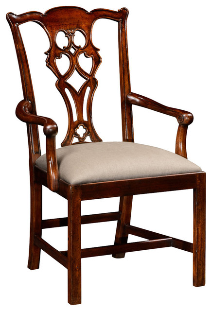 Chippendale Style Classic Mahogany Arm Chair Traditional