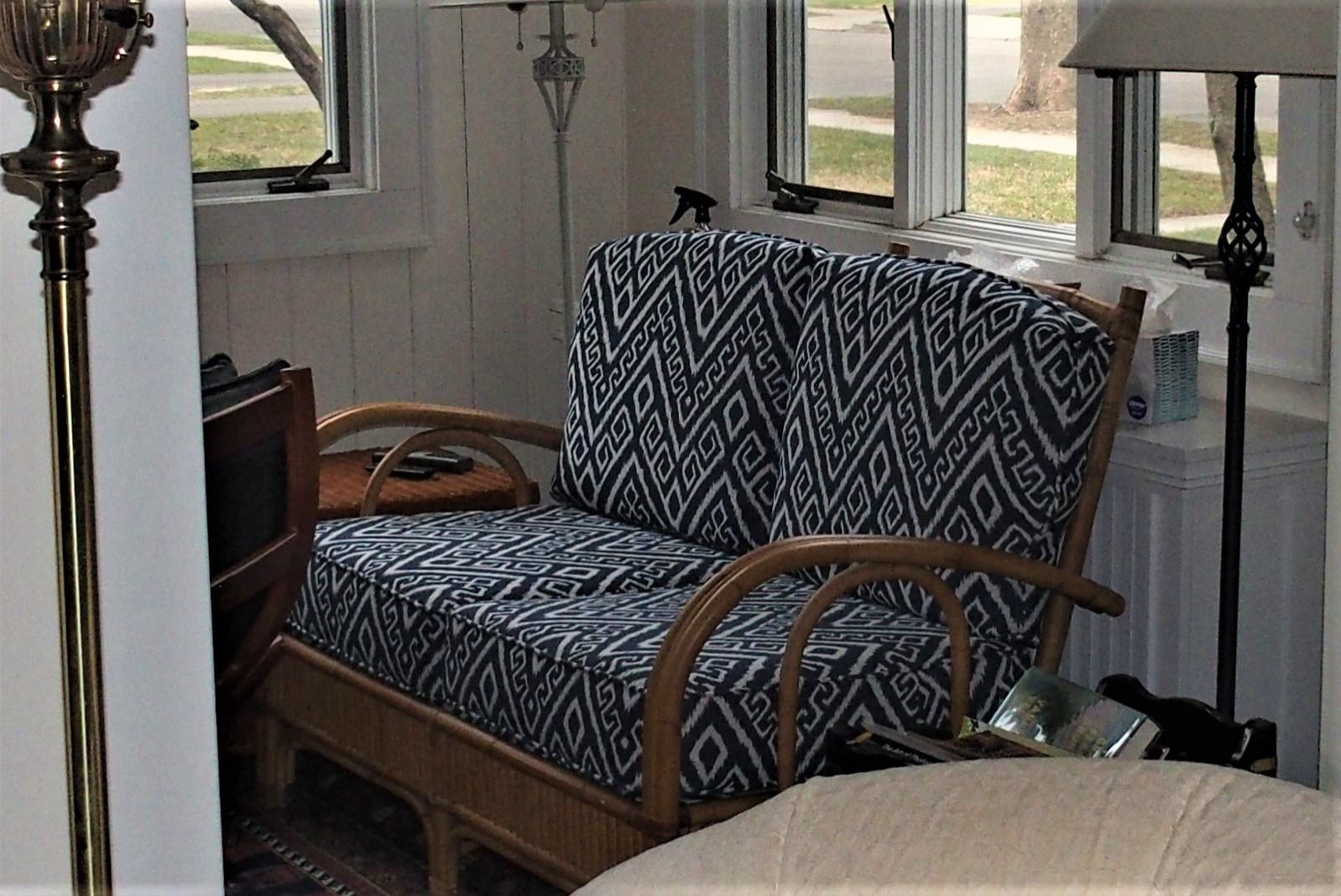 Reupholstered bamboo love seat