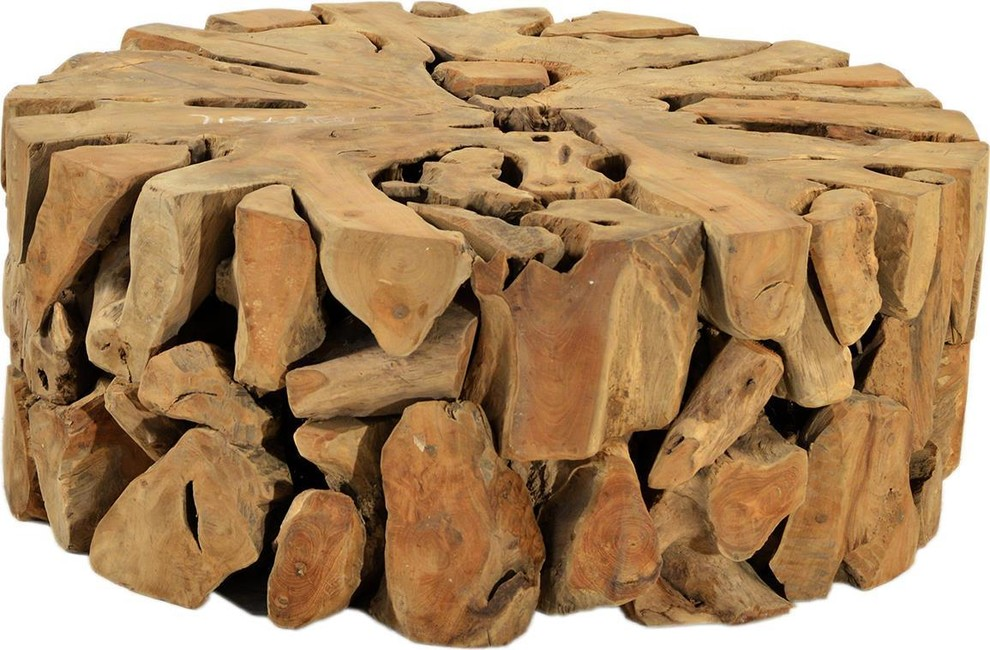 Coffee Table Dovetail Solid Teak Root Round - Rustic ...