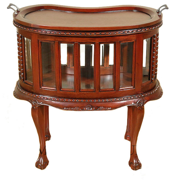 Cherry Victorian Kidney Dumbwaiter Table W Removable Tray