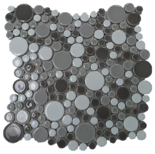 Bubble Porcelain Circle Mosaic Tile Dark Gray With White 11 Sheets Contemporary