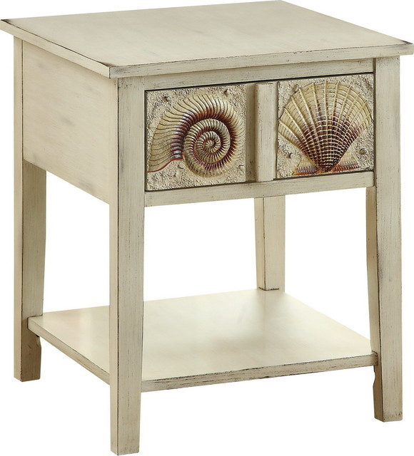 Surfside End Table, Shoals Distressed Sand Beach Style Side Tables And