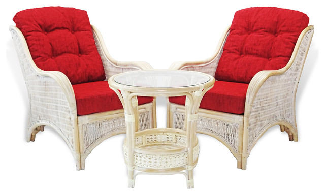 Jam Rattan Wicker Living Set 3pc Coffee Table 2 Chairs w//Cushions 3 Colors
