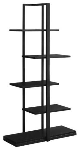 Monarch 5-Shelf Metal Bookcase, Black