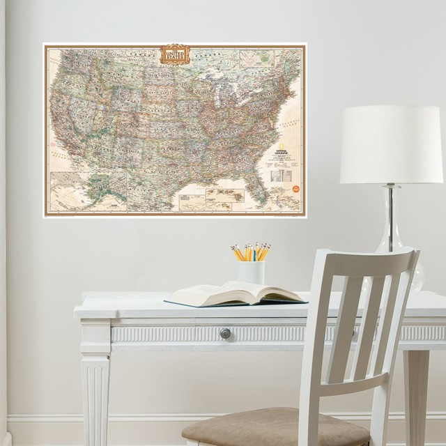 e02f0d0c7c National Geographic USA Map Wall Decal - Contemporary - Wall Decals - by  WallPops