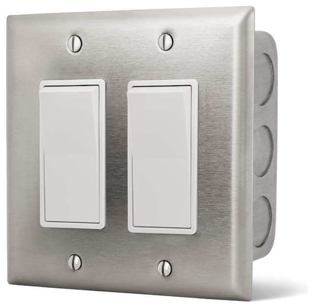Dual On/Off Switch Wall Plate with Gang Box, 20 Amp Per Switch ...