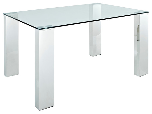 Staunch Glass Top Dining Table With Stainless Steel Legs  : modern dining tables from www.houzz.com size 640 x 482 jpeg 25kB