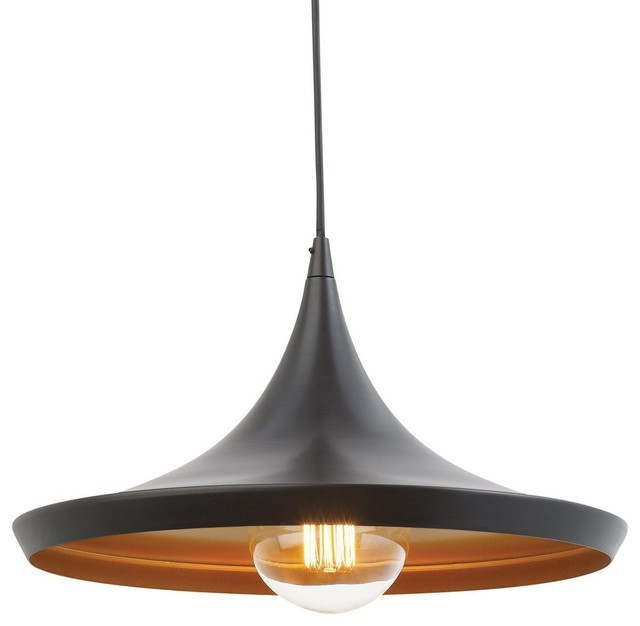1-Light Flat Modern Industrial Pendant, Oil Rubbed Bronze, Gold Inner Finish.