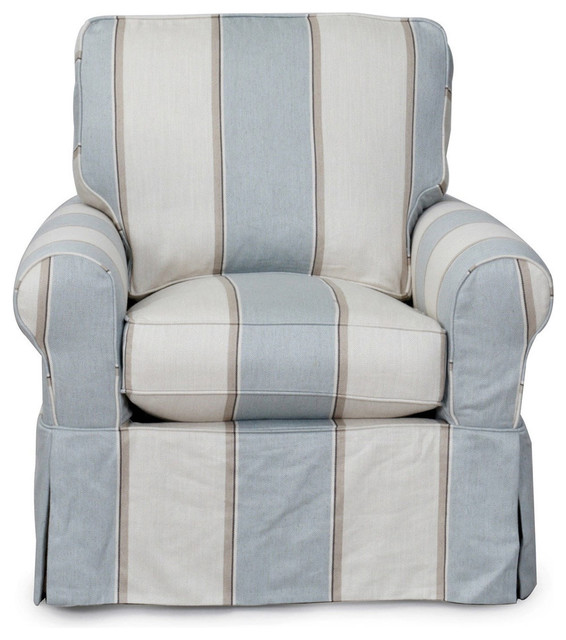 Sunset Trading Horizon Swivel Chair With Beach House Blue Slip Cover Set  Beach Style