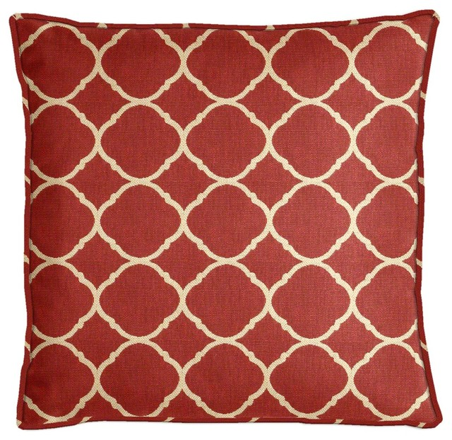 Sunbrella Accord II Crimson Throw Pillow Set With Cording Transitional  Outdoor Cushions And