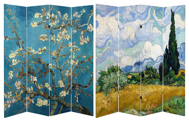 Tall Double Sided Works of Van Gogh Canvas Room Divider - Almond Blossoms - 6 Ft. Tall Double Sided Works Of Van Gogh Canvas Room Divider