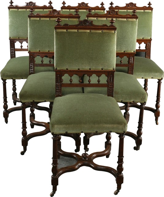 Consigned Antique Dining Chairs, 1900 Flemish, Set Of 6 - Consigned Antique Dining Chairs, 1900 Flemish, Set Of 6