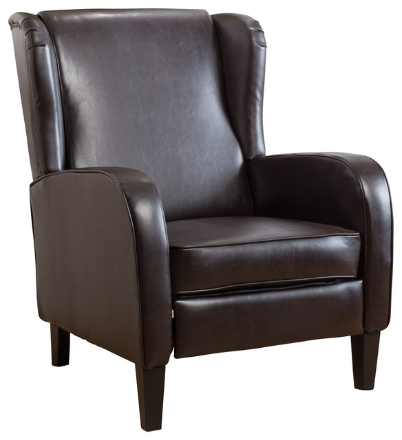 Hadley Espresso Leather Wingback Club Chair Recliner Transitional Recliner  Chairs