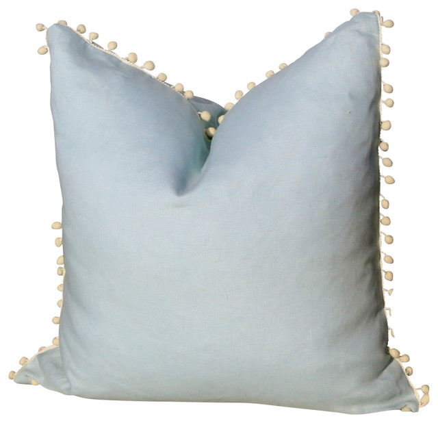 Linen Pillow Cover With Pompom Trim Sky Blue Transitional