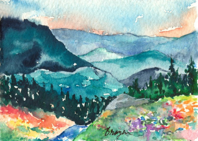 "Watercolor Landscape Painting, Valley of Dreams Mountain, Canvas 24""x36"