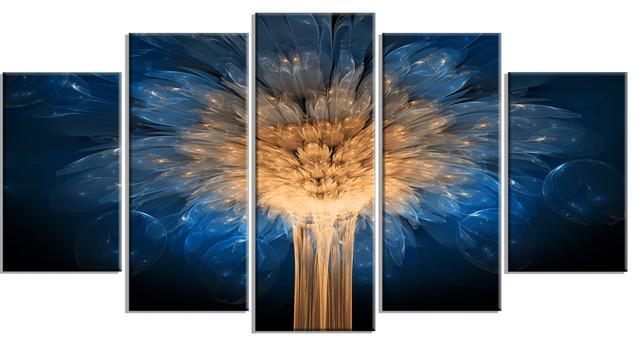 Fractal 3d Blue Dragon Flower Abstract Art Canvas Print 5 Panels 60 X32