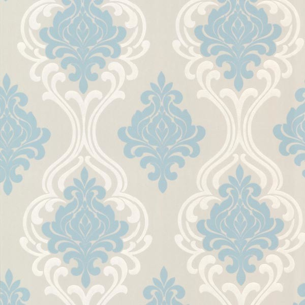 Indiana Light Blue Damask Wallpaper Mediterranean