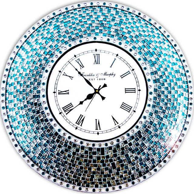 Decors 24 Silver And Turquoise Mosaic Decorative Wall Mounted Clock