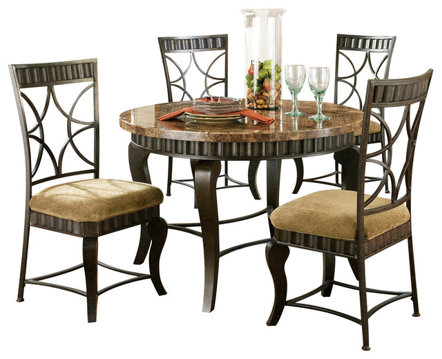 Steve Silver Hamlyn 5 Piece Dining Room Set With Marble Top And Metal Base