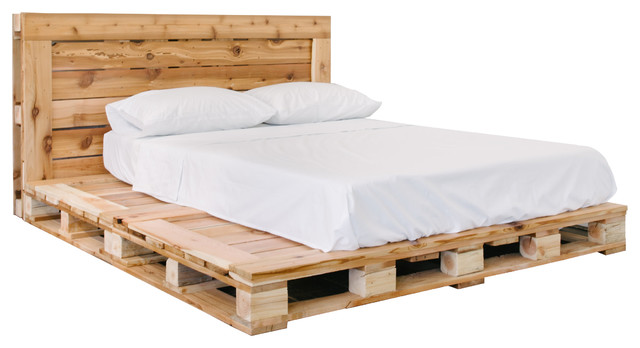 Pallet Bed Platfrom Frame and Headboard, Queen - Rustic ... on Pallet Bed Design  id=64805