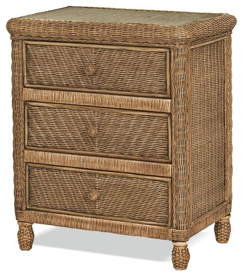 Santa Cruz 3 Drawer Chest With Glass Top, Jacobean