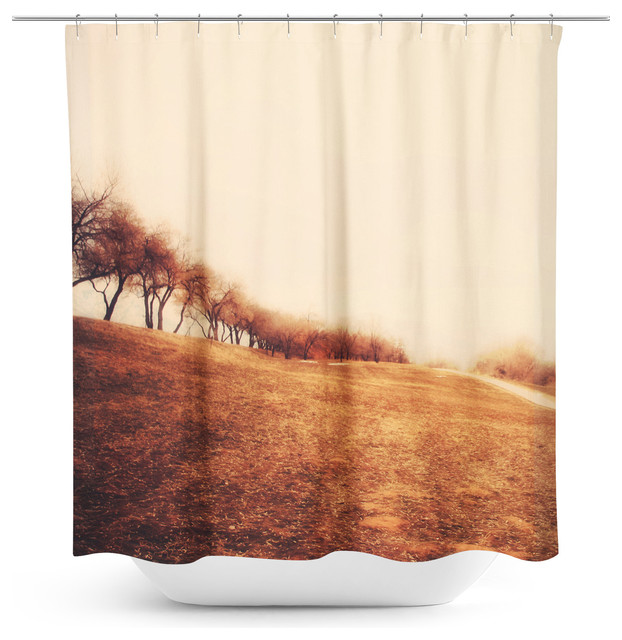 Minimalist Outdoor Contemporary Curtains Minimalist Autumn Landscape Shower Curtain Modern Shower Curtains By Sy