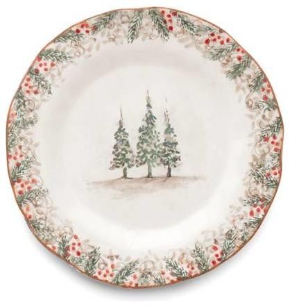 Arte Italica Christmas Natale Round Dinner Plate - ChristmasTablescapeDecor.com
