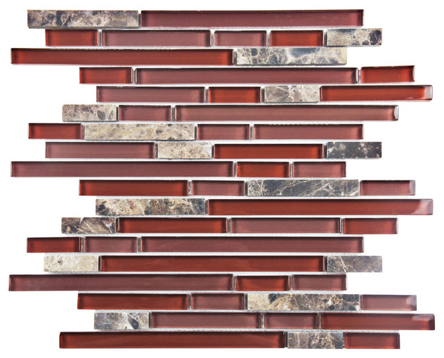 """11.75""""x12"""" Reflections Piano Stone and Glass Mosaic Wall Tile, Bordeaux contemporary-mosaic-tile"""