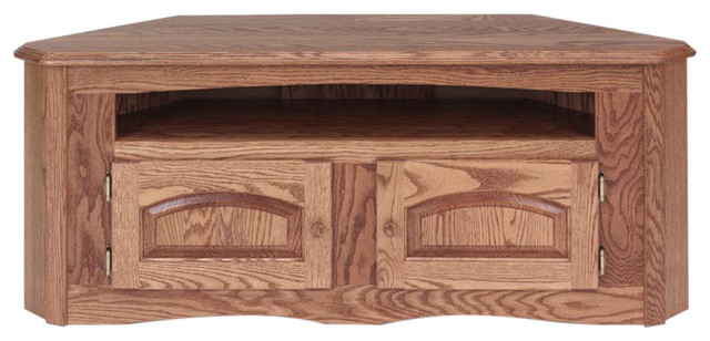 Solid Oak Country Style Corner Tv Stand With Cabinet 53
