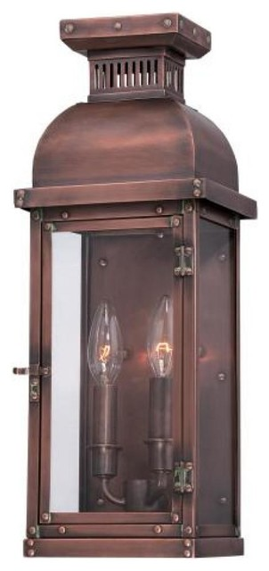 Copperton 2 Light Pocket Lantern, Manhattan Copper Traditional Outdoor Wall  Lights
