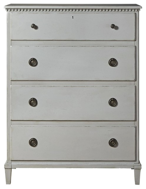 Sojourn French Country 4 Drawers Chest, Gray.