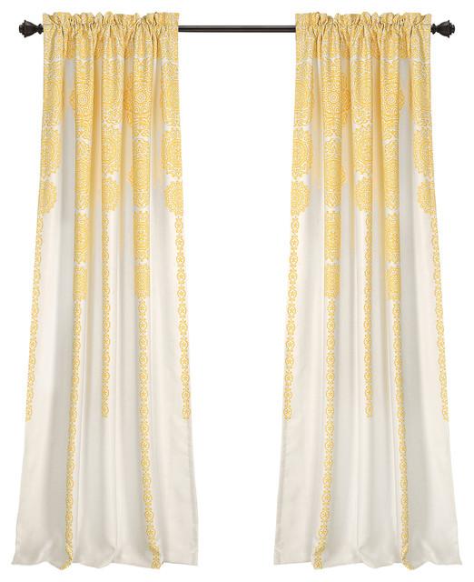 Stripe Medallion Room Darkening Window Curtain Panel Set, Yellow, 52x84.