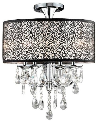 Bubble Shade Crystal And Chrome Flushmount Chandelier Contemporary Flush Mount Ceiling Lighting By Highlight Usa Llc