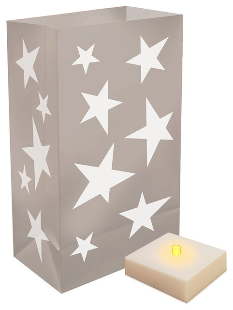 Battery Operated Luminaria Kit With Timer, Silver Stars, 12-Piece Set.