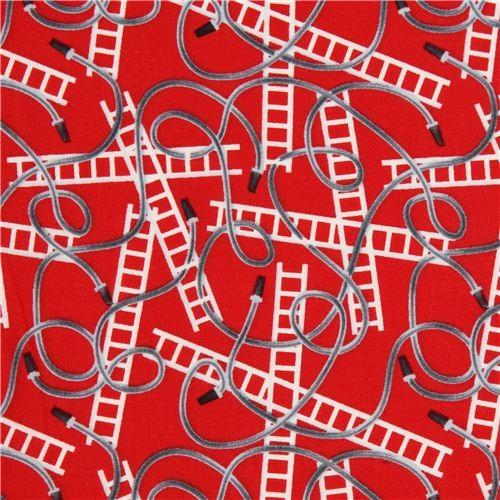 red fire brigade fire hose and ladder fabric Robert Kaufman