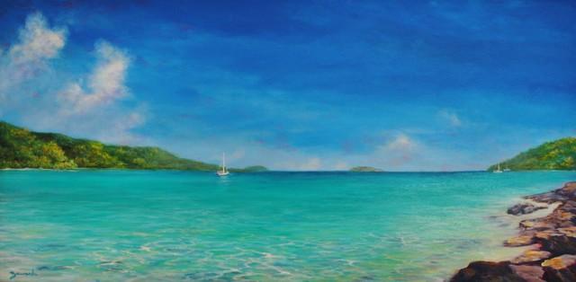 Original Caribbean Seascape Painting Magen S Bay Beach