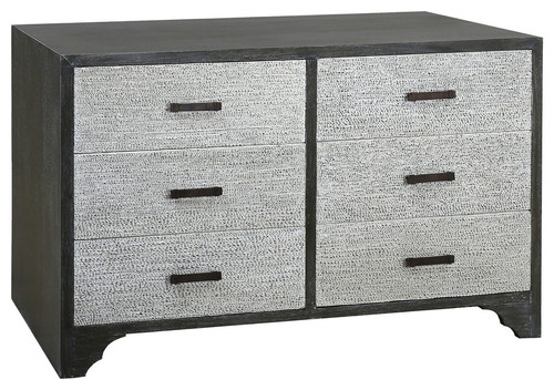 Chimney Corner Washed Grey MDF 6-Drawer Chest with Solid Mahogany Veneers