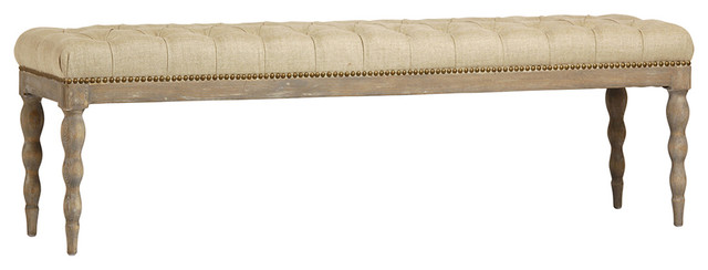 Tufted Linen Oak Bench.