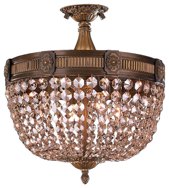Traditional 4 Light Antique Bronze 30% Full Lead Crystal 16 Basket Semi Flush.