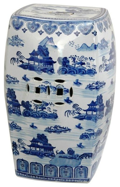 18 Square Landscape Blue and White Porcelain Garden Stool